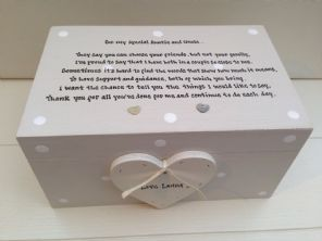 Shabby Personalised Chic Special Auntie & Uncle Aunty Aunt LARGE Keesake Box